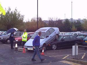 Car crash in carpark