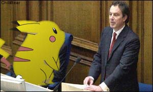 Tony Blair and Pikachu at a recent conference.